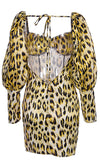 Whispers In The Wild Yellow Leopard Print Animal Pattern Long Bubble Sleeve V Neck Backless Bodycon Mini Dress
