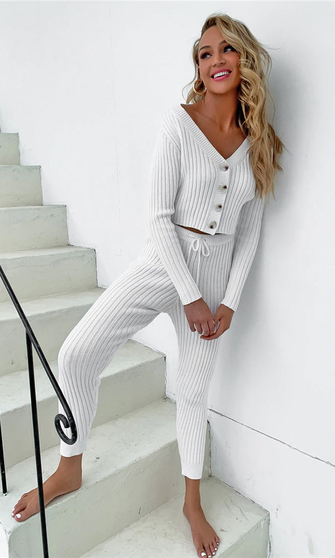Snuggle Together Sweater Ribbed Long Sleeve V Neck Button Crop Cardigan Drawstring Pant Two Piece Jumpsuit Loungewear Set