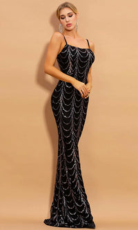 Everyday Glamour Black Silver Sequin Geometric Pattern Sleeveless Spaghetti Strap Square Neck Maxi Dress