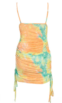 Citrus Kisses Orange Green Tie Dye Pattern Sleeveless Spaghetti Strap Square Neck Ruched Drawstring Bodycon Mini Dress