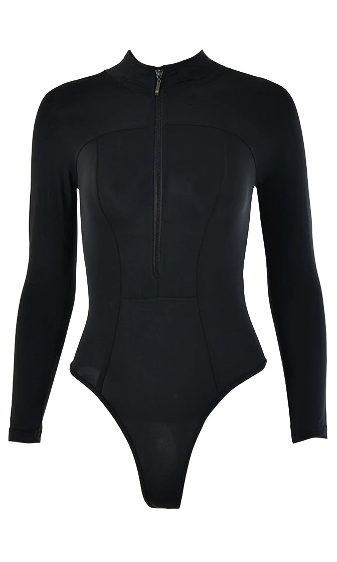 Cutting Edge Black Long Sleeve Mock Neck Zip Front Bodysuit Top
