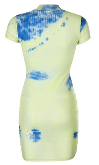 Creative Impact Green Blue Tie Dye Pattern Ribbed Short Sleeve Mock Neck Drawstring Ruched Casual Bodycon Mini Dress