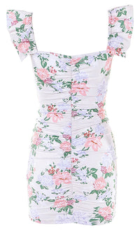 Thanks For Everything White Pink Floral Pattern Ruffle Sleeve V Neck Lace Up Ruched Bodycon Casual Mini Dress