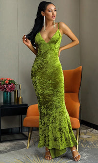 Holiday Romance Green Chartreuse Crushed Velvet SLEEVELESS SPAGHETTI STRAP PLUNGE V NECK BACKLESS RUCHED MERMAID MAXI DRESS