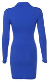 Give Me A Break Long Sleeve Polo Collar Button Neck Casual Bodycon Mini Dress - 2 Colors Available