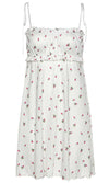 So Smitten White Floral Pattern Sleeveless Bow Tie Straps Square Neck Smocked Waist Skater Circle A Line Flare Casual Mini Dress