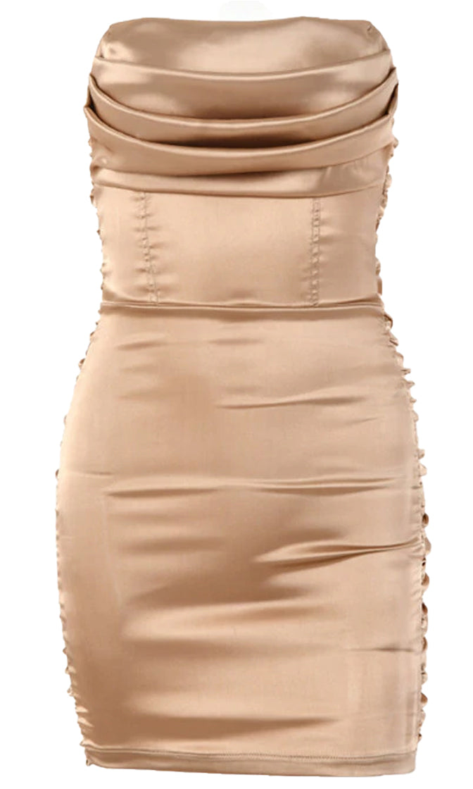 Celebrate The Night Satin Strapless Drape Neck Ruched Bodycon Mini Dress