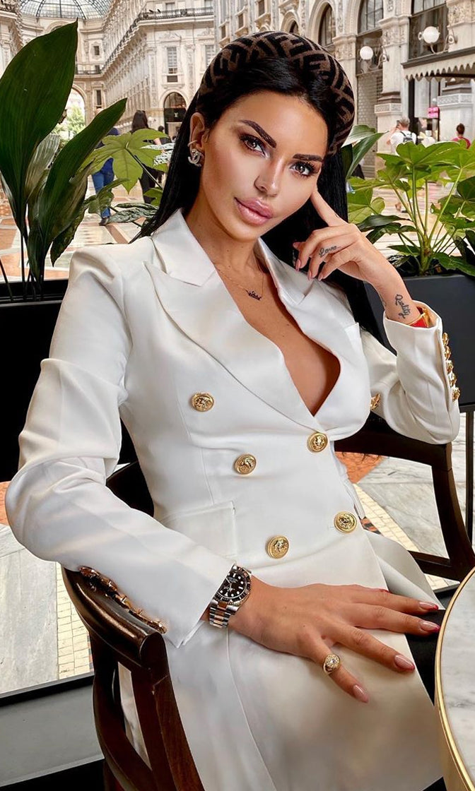 I'm For Real White Button Long Sleeve Double Breasted Blazer Jacket Outerwear Mini Dress