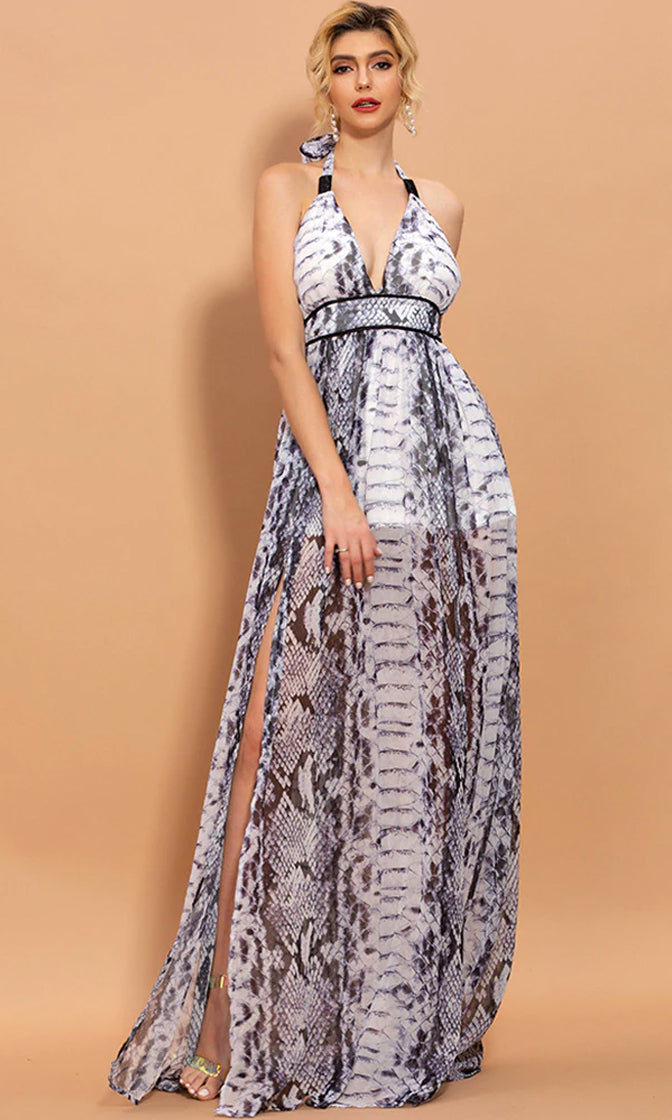 I Need You White Snake Animal Pattern Sleeveless Halter Backless V Neck Double Slit Maxi Dress