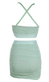 Barely There Light Blue Sleeveless Spaghetti Strap Crop Top Ruched Bodycon Mini Skirt Two Piece Dress