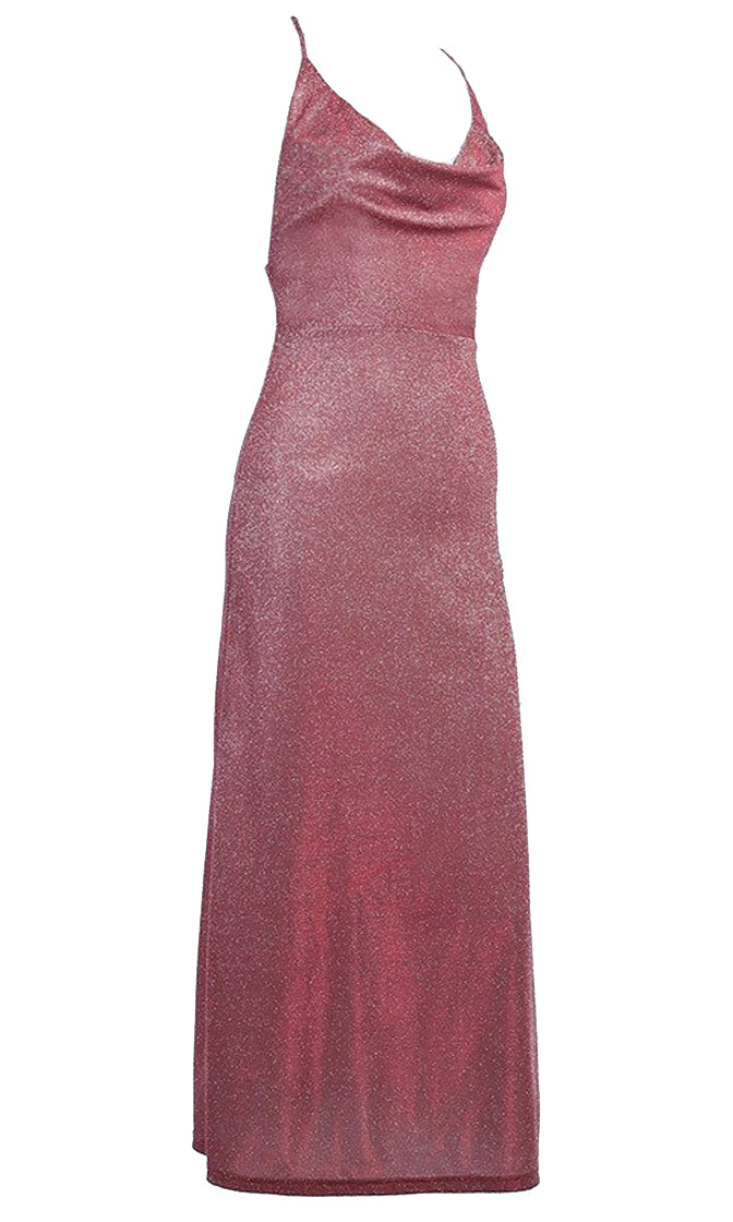 Cover Story Mauve Glitter Sleeveless Spaghetti Strap Crisscross Backless Drape V Neck Midi Dress