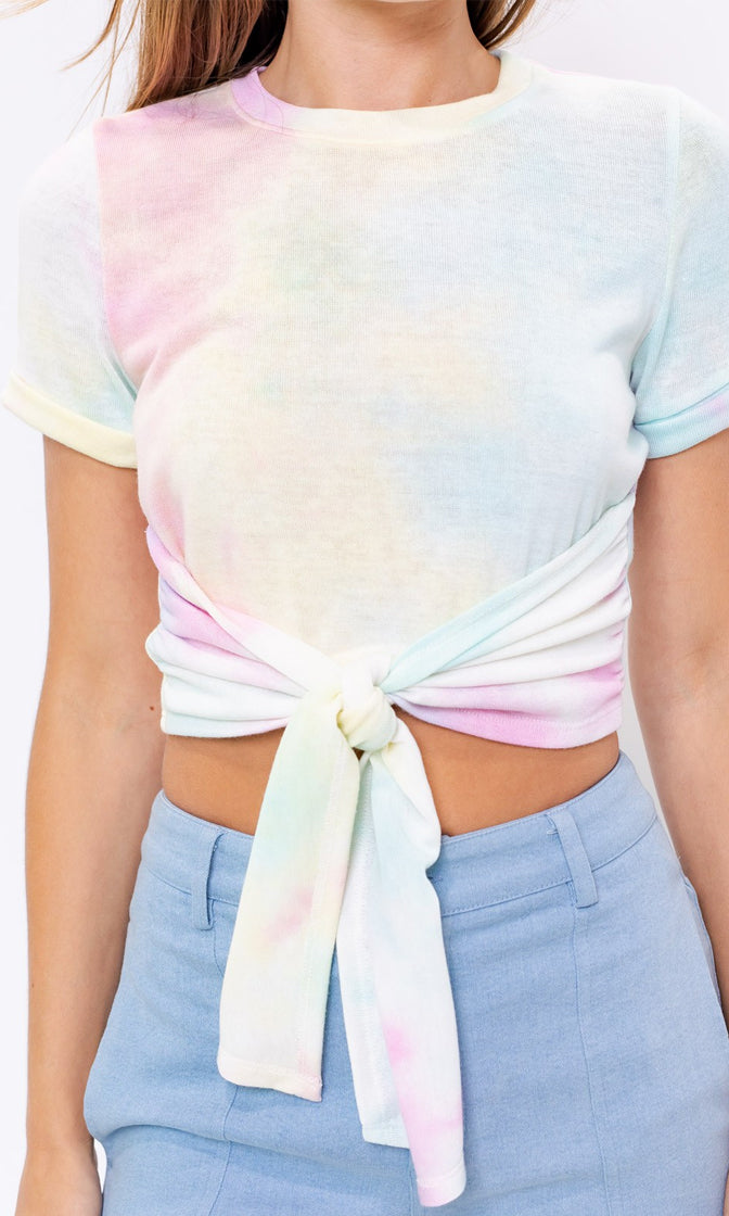 Once In A Dream Pastel Tie Dye Short Sleeve Crew Neck Tie Hem Crop Tee Shirt Top
