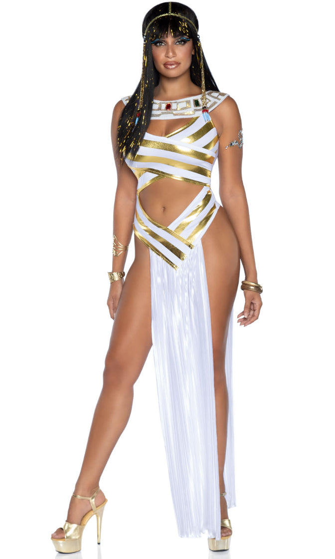 Pray To Me White Gold Sleeveless Round Neck Cut Out Drape Panel Maxi Dress Halloween Costume
