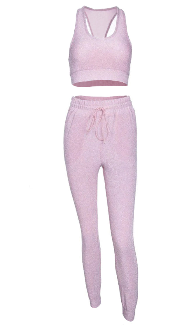 Dancing All Day Pink Sparkle Sleeveless Scoop Neck Racerback Crop Top Drawstring Lounge Jogger Pant Two Piece Jumpsuit