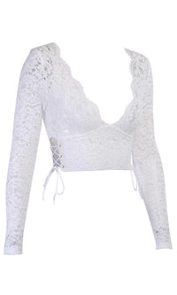 Free To Believe White Sheer Mesh Lace Long Sleeve Plunge V Neck Bow Back Crop Top Blouse