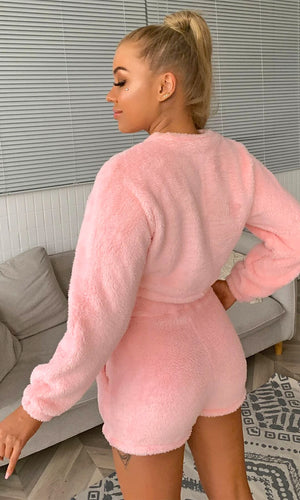 Snuggle Up Closer Plush Long Sleeve Crew Neck Crop Top Elastic Waist Shorts Two Piece Romper Loungewear Set