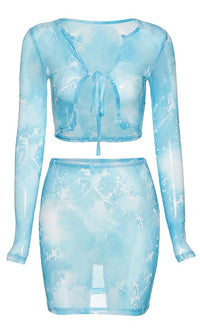 Sheer Imagination Tie Dye Pattern Sheer Mesh Long Sleeve Scoop Neck Tie Crop Top Bodycon Two Piece Casual Mini Dress