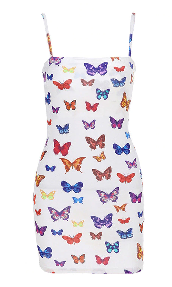 Summer In The City White Butterfly Pattern Sleeveless Spaghetti Strap Square Neck Casual Bodycon Mini Dress
