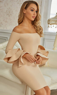 Got It Now Apricot Long Sleeve Ruffle Off The Shoulder Bandage Bodycon Mini Dress