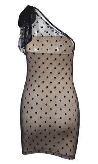 Midnight Daze Polka Dot Pattern Sheer Mesh Sleeveless One Shoulder Bow Bodycon Mini Dress - 2 Colors Available - Sold Out