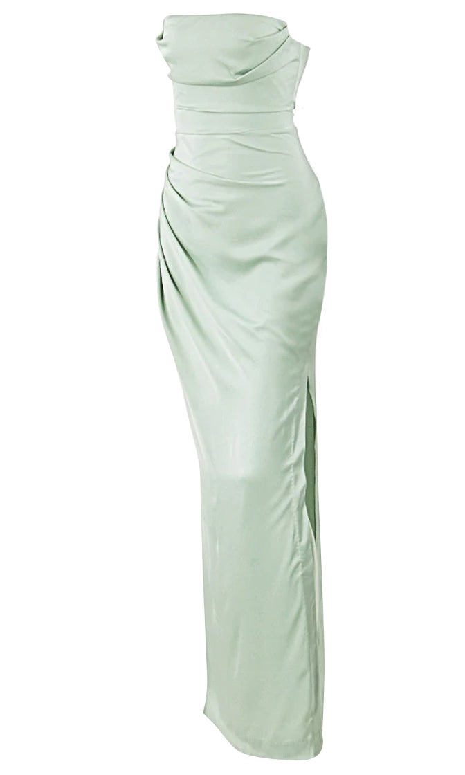 In The Mist Sage Green Satin Strapless Draped Side Slit Maxi Dress