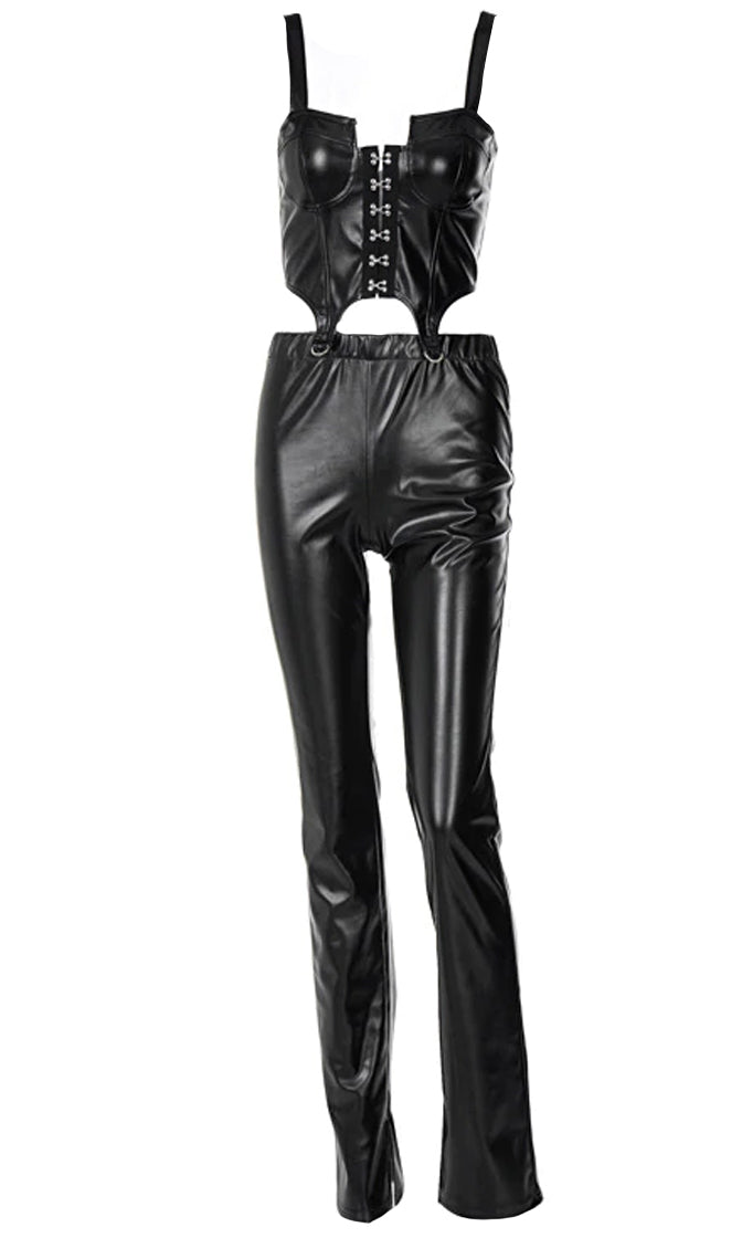 Dominate The Conversation PU Faux Leather Sleeveless Hook And Eye Bustier Crop Top Elastic Waist Skinny Pant Two Piece Jumpsuit