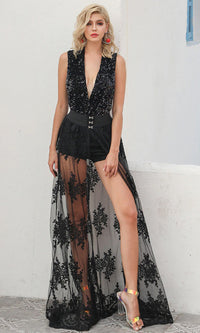 You're My One And Only Black Sheer Mesh Lace Split Front Maxi Skirt - Sold Out