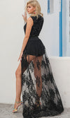 You're My One And Only Black Sheer Mesh Lace Split Front Maxi Skirt
