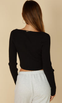 Sweetest Intentions Ribbed Long Sleeve Square Neck Pearl Button Crop Top - Sold Out