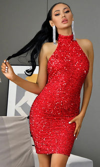 Come And Get It Red Sequin Sleeveless Mock Neck Halter Backless Bodycon Mini Dress