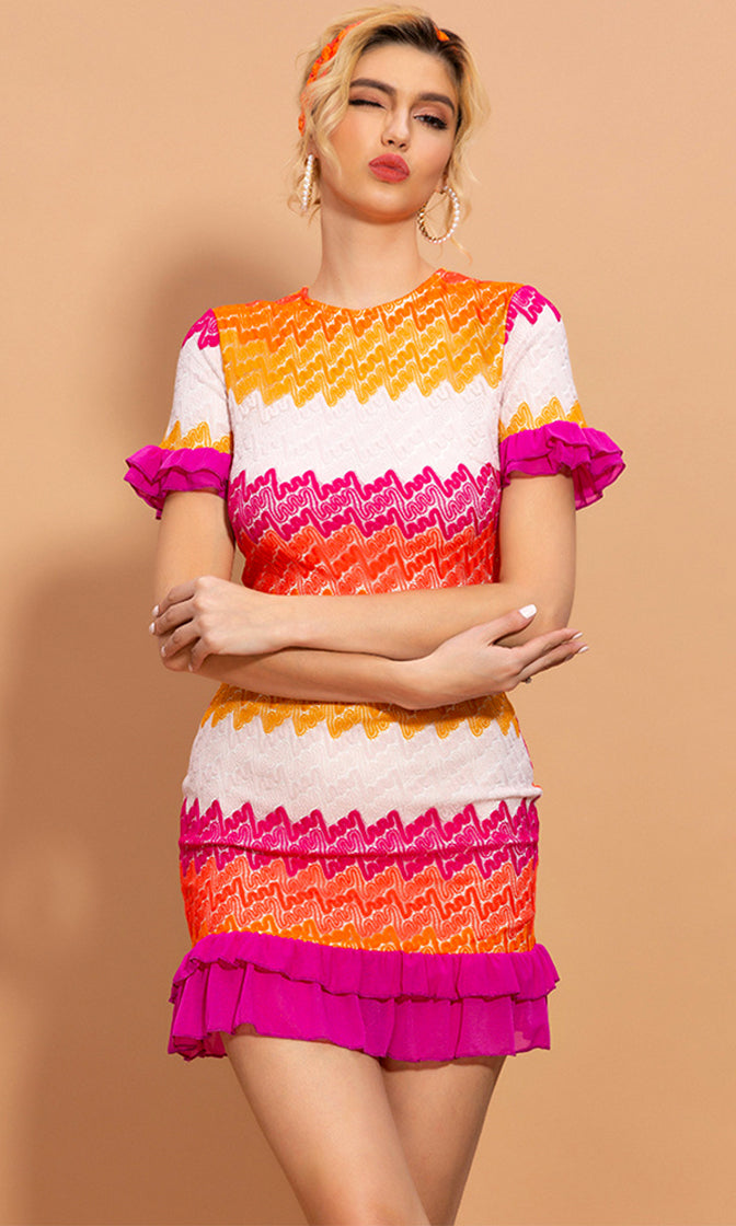 Knit To Perfection Multicolor Zig Zag Stripe Pattern Short Sleeve Crew Neck Ruffle Casual Bodycon Mini Dress