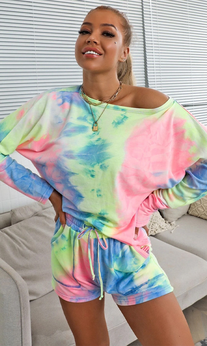 Hanging Back Multicolor Tie Dye Pattern Long Sleeve Round Neck Top Elastic Drawstring Short Two Piece Romper