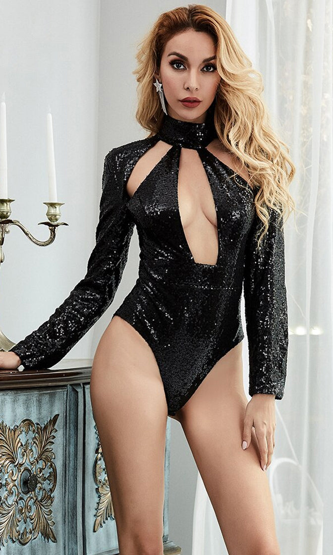 Take Cover Black Sequin Long Sleeve Mock Neck Cut Out Bodysuit Top