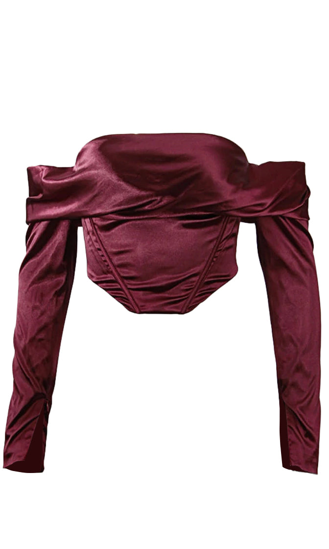 Lip Service Burgundy Satin Long Sleeve Off The Shoulder Foldover Bustier Crop Top Blouse