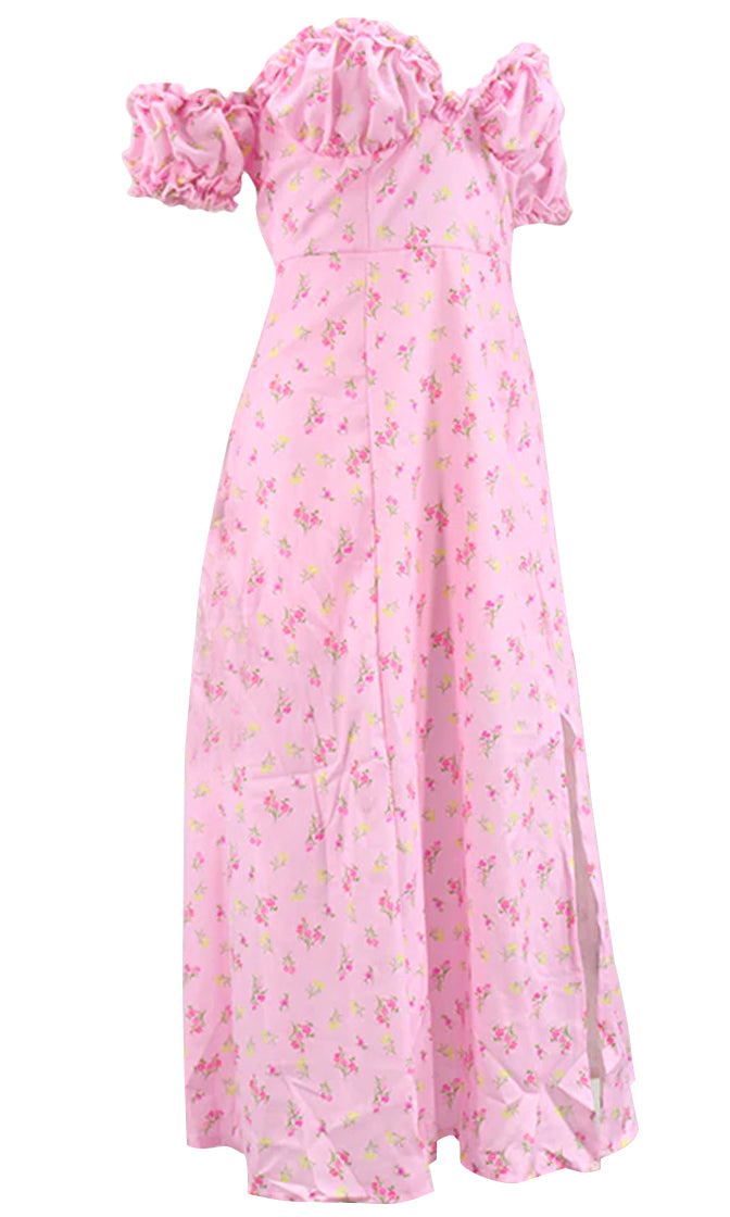 My Sweet Pink Floral Pattern Short Sleeve Off The Shoulder V Neck Ruffle Side Slit Casual A Line Midi Dress
