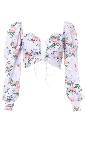 Beverly Hills Princess White Sheer Mesh Floral Pattern Short Puff Sleeve High Neck Scarf Tie Blouse Top