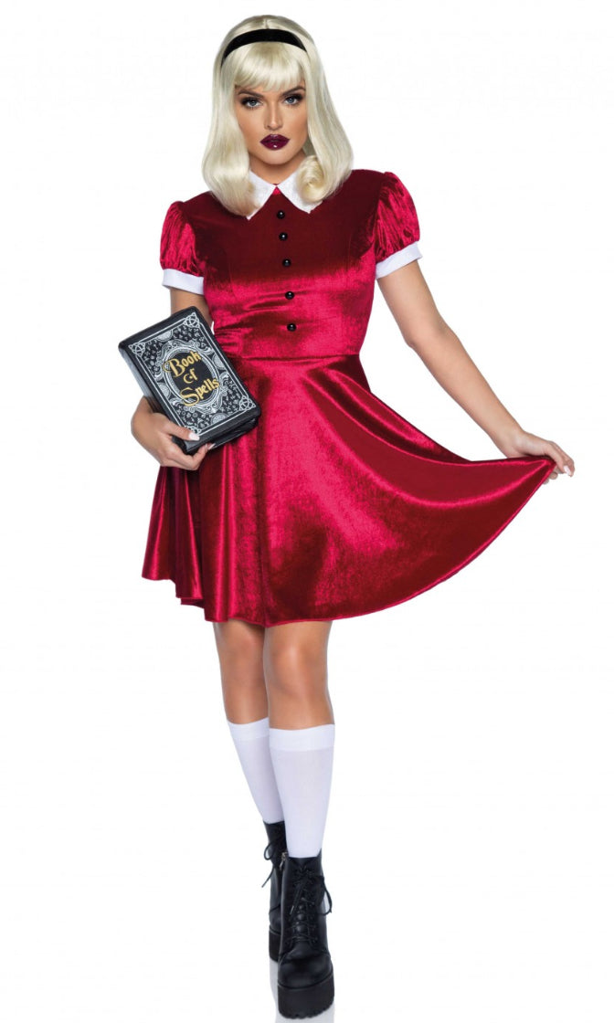 Spell Caster Red Velvet Short Sleeve Collar Flare A Line Mini Dress 2 Piece Halloween Costume