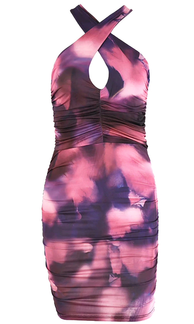 Twist The Truth Tie Dye Pattern Sleeveless Crisscross Strap Cut Out Backless Ruched Bodycon Mini Dress