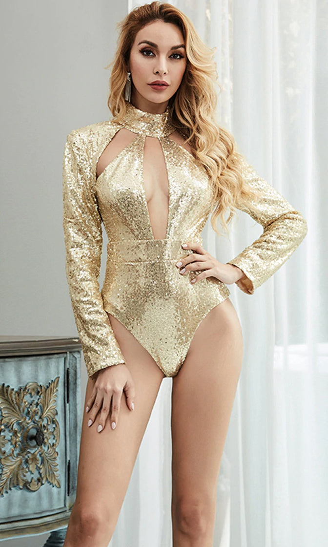 Take Cover Gold Sequin Long Sleeve Mock Neck Cut Out Bodysuit Top