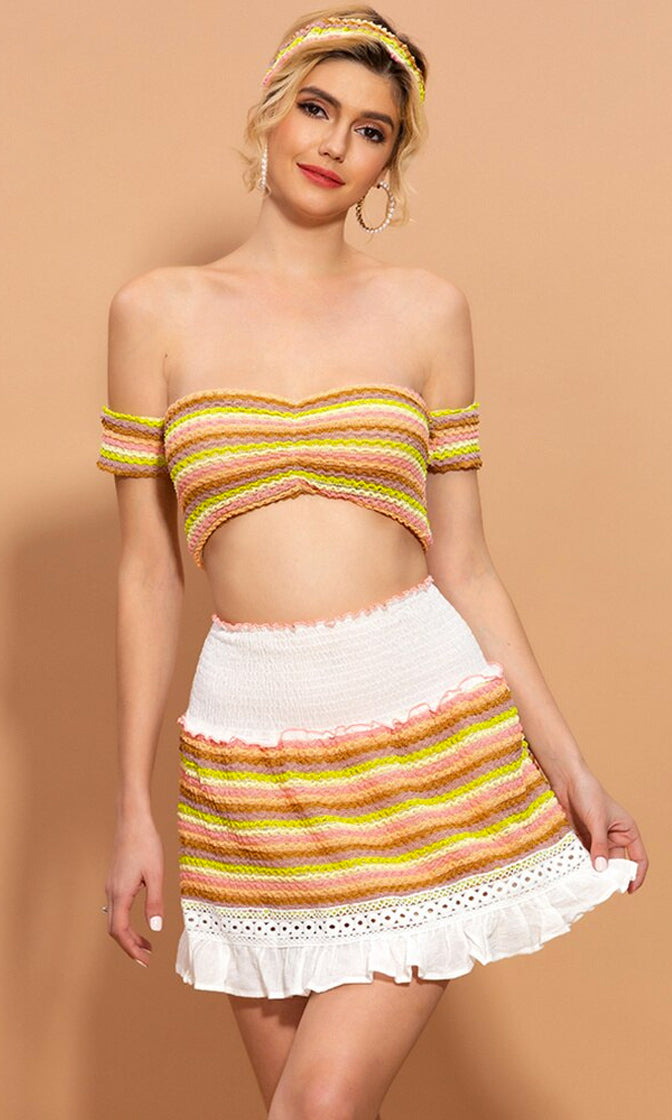 Seaside Seduction Multicolor Knit Stripe Pattern Short Sleeve Off The Shoulder Crop Top Flare A Line Two Piece Casual Mini Dress