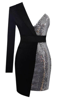Hollywood Vision Sequin One Shoulder Long Sleeve V Neck Bodycon Mini Dress