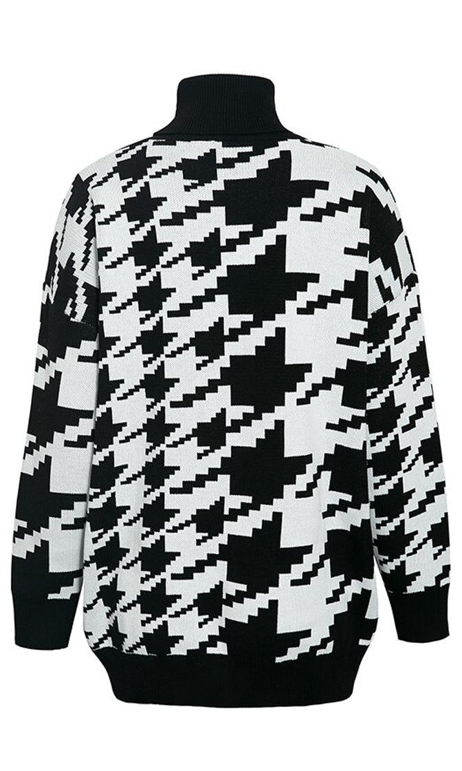 Don't Hound Me Black White Houndstooth Geometric Pattern Long Sleeve Turtleneck Pullover Sweater