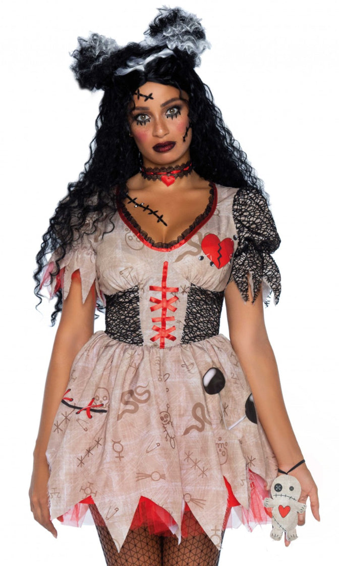 Voodoo On You Beige Black Red Short Sleeve V Neck Flare A Line Mini Dress 3 Piece Halloween Costume