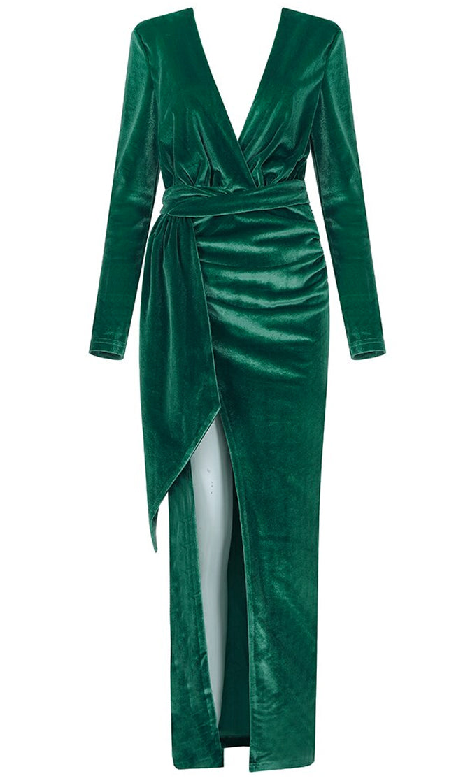 Decadent Lover Green Velvet Long Sleeve Plunge V Neck Cross Wrap Ruched Sash Split Maxi Dress