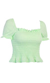 Pretty Little Babe Green Short Puff Sleeve Square Neck Ruffle Smocked Crop Top - 3 Colors Available