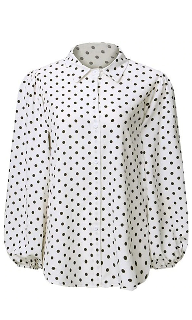 Pretty Lady Polka Dot Pattern Chiffon Long Bubble Sleeve Button Front Blouse Top