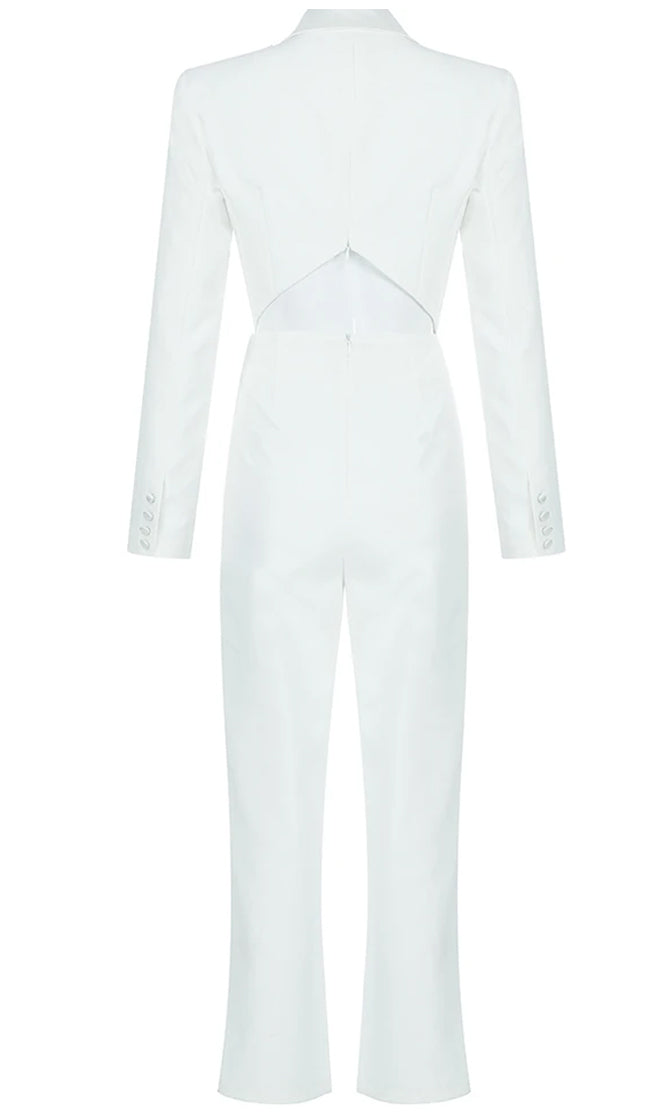 Front Page Headline White Long Sleeve Lapel V Neck Cut Out Back Skinny Blazer Jumpsuit