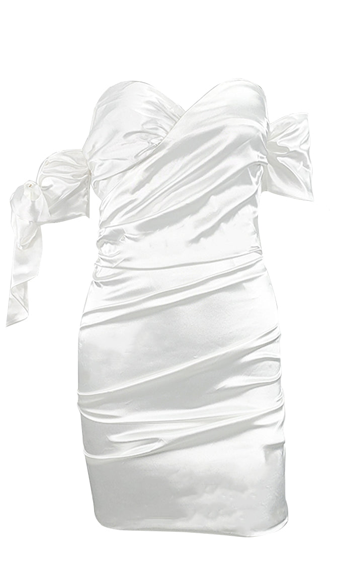 New Vision White Short Bow Sleeve Off The Shoulder Cross Wrap V Neck Ruched Bodycon Mini Dress