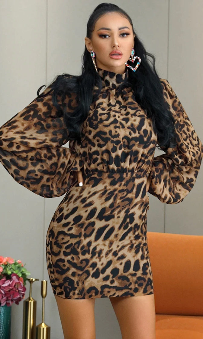Animal Lover Leopard Print Animal Pattern Chiffon Long Bell Sleeve Mock Turtle Neck Ruched Bodycon Mini Dress