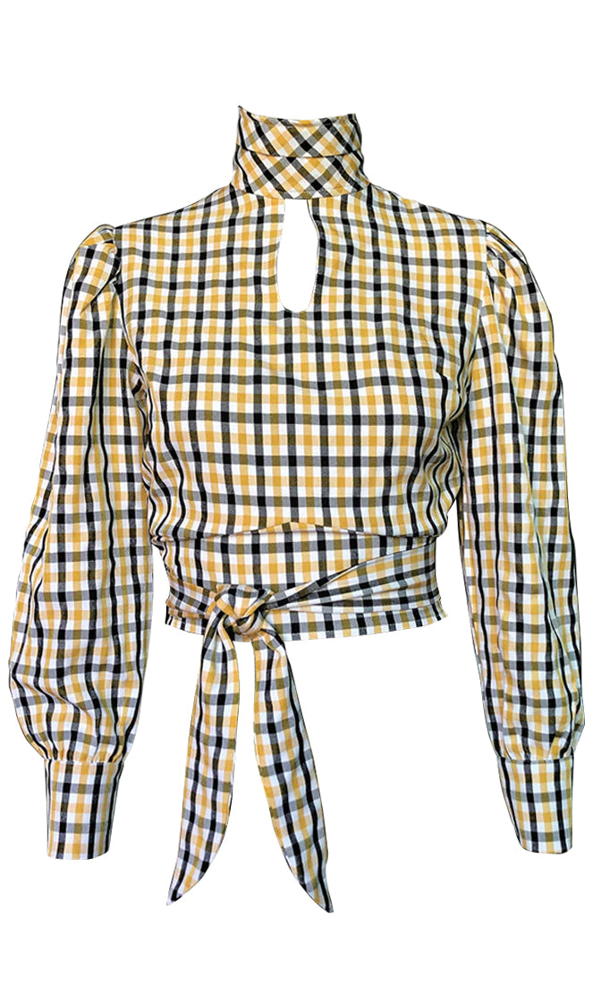 Back Splash Yellow Plaid Pattern Long Sleeve Turtleneck Cut Out Keyhole Tie Waist Backless Blouse Top